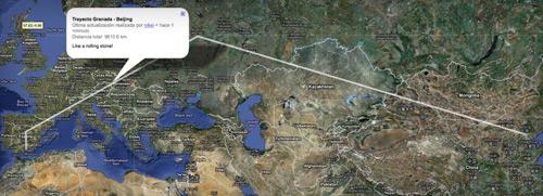 Haz click en el mapa para ver la ruta Granada - China 9000 km.
