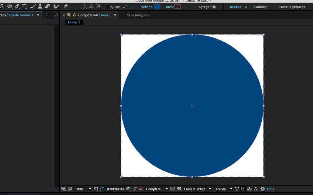 paso 02 - creación de la capa sólida circular o forma circular - crear rebote en After Effects